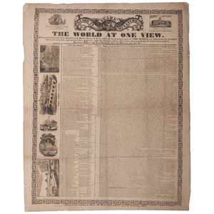 Sears' Globe in Miniature or the World at One View, Ca Late 1830s Broadside with One of the Earliest Depictions of Baseball