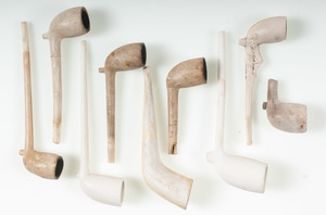 Group of Nine Clay Pipes