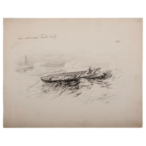 Civil War, Mobile Bay, Alabama, Two Pen and Ink Sketches by Alfred R. Waud