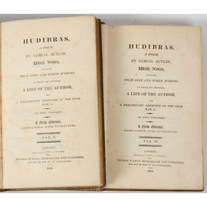 [Literature - Poetry] Samuel Butler, Hudibras, 1819 2 Volumes with Hand Colored Illustrations