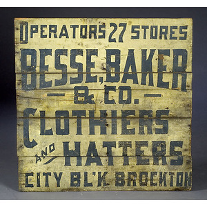 Clothier and Hatter Trade Sign,
