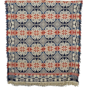 Signed and Dated Tri-Color Mount Vernon, Ohio Coverlet,
