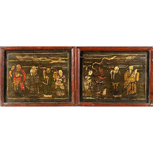 Pair of Early Chinese Painted Architectural Panels,