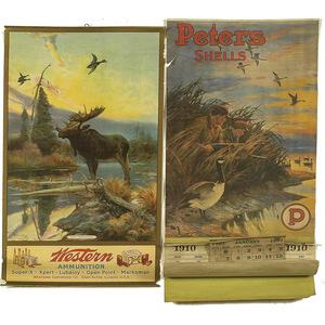 1910 Western Ammunition Calendar, & Repro. 1910 Peters Shell Calendar