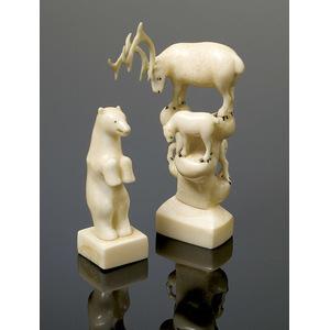 Ivory Polar Bear and Caribou Carvings,