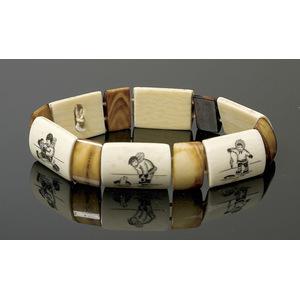 Eskimo Scrimshawed Ivory Bracelet,