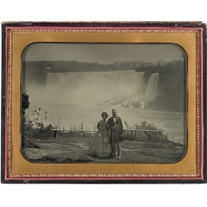 Wonderful Full Plate Ambrotype of a Honeymooning Couple at Niagara Falls,