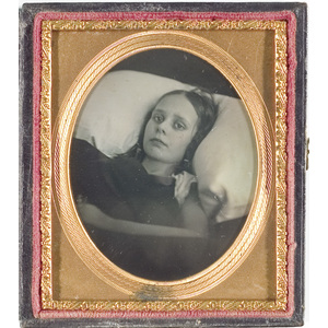 Hauntingly Beautiful Sixth Plate Daguerreotype of a Young Girl on Her Deathbed,