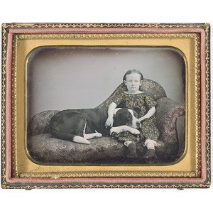 Sweet Quarter Plate Daguerreotype of a Child Seated with a Faithful Large Dog,