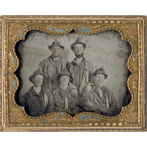 Half Plate Ambrotype of Cornish Metal Miners,