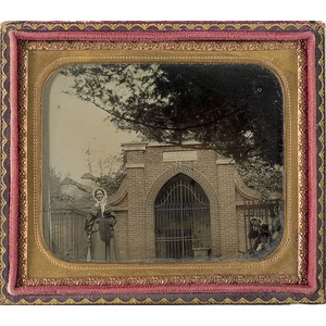 Sixth Plate Ambrotype of Ann Pamela Cunningham in front of Washington's Tomb,