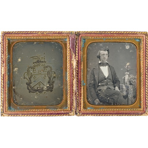 Sixth Plate Daguerreotype with Portrait of Gentleman and Family Crest,