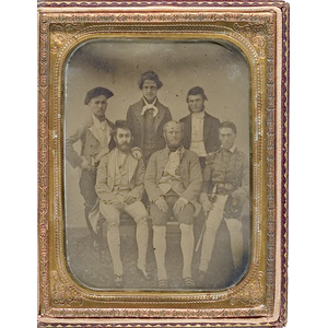 Half Plate Ambrotype of a Group of Colonial-Costumed Revelers,