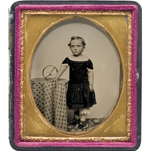Sixth Plate Ambrotype by George Barnard of a Young Girl with Her Toy Horse,