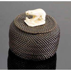 Baleen Lidded Basket with Ivory Polar Bear with Its Paw on Seal Finial,