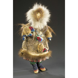 Eskimo Doll with Leather Face and Embroidered Features,