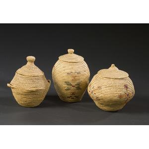 Alaskan Eskimo Lidded Baskets with Knobs on Top,