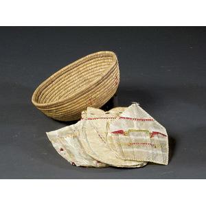 Alaskan Eskimo Basket with Three Gut Skin Pouches,