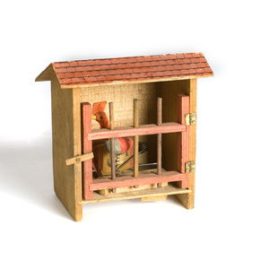 Wooden Rooster in Cage Pipsqueak,