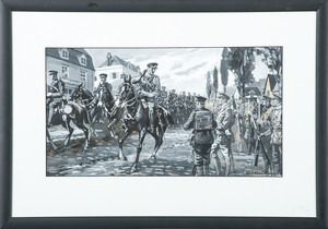 E.P. Kenley, Watercolor, Lieutenant-Colonel A. A. Kennedy, CO 3rd Hussars, Saluting Officers and Men of the 1st Battalion, Royal Irish Fusiliers, in the Village of Flêtre - 13th October 1914