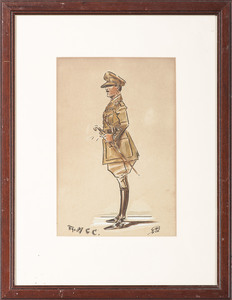 R.T. Carper, Pencil and Watercolor Portrait of British Officer, Plus