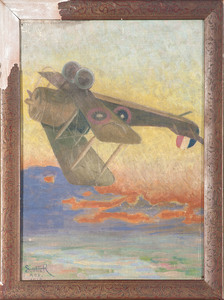 L. Cartwright Watercolor, Plus Two Aviation Paintings