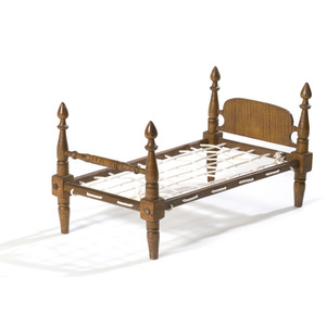 Curly Maple Doll-Sized Rope Bed,