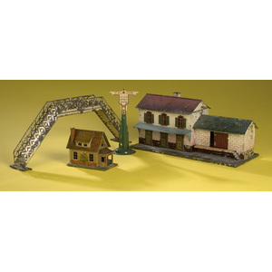 Lionel Chromolithographed Tin Buildings, Bridge & Signal,