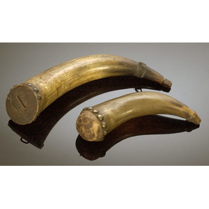Two Early Tack Decorated Powder Horns,