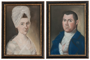 Pastel Portraits of Captain John Collins and Mary Collins, attributed to Benjamin Blyth (1746-1811)