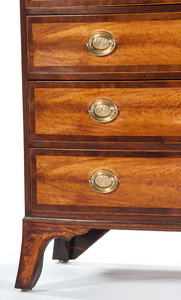 A Fine New Hampshire Federal Flame Birch Bowfront Chest of Drawers