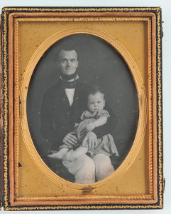 Quarter Plate Daguerreotype of Dad and His Baby
