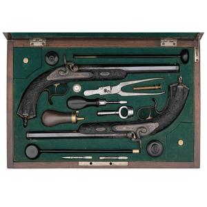 Exquisite Case Set of Exhibition Grade German Percussion Target Pistols