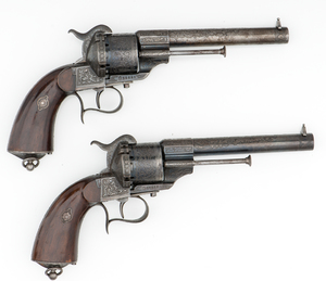 Cased Pair Of Engraved Lefaucheux M1854 Pinfire Revolvers