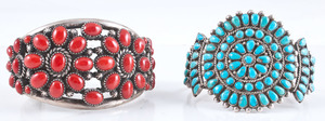 Navajo and Zuni Silver Cuff Bracelets with Stone Clusters