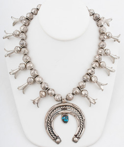 Navajo Stamped Silver and Turquoise Squash Blossom