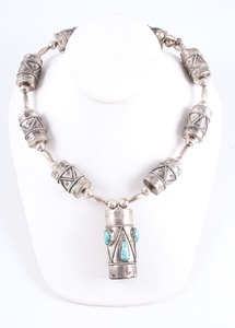 Navajo Drum Silver and Turquoise Necklace