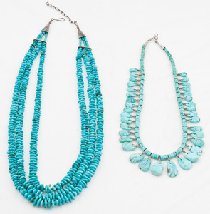 Joe and Terry Reano (Kewa, 20th century) Turquoise Necklaces