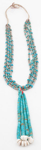 Pueblo Style Heishi and Rolled Turquoise Necklace