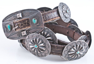 Navajo Silver and Turquoise Concha Belt with Stamped Whirling Logs