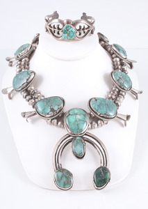 Navajo Turquoise and Silver Squash Blossom Necklace PLUS