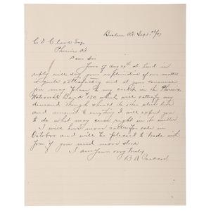 Famed Arizona Rancher & Banker B.A. Packard ALS, September 1897