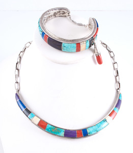 Ben Nighthorse Campbell (Cheyenne, b. 1933) Silver Inlaid Cuff Bracelet and Choker Necklace