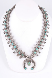 Dainty Navajo Silver and Turquoise Squash Blossom Necklace
