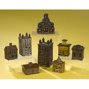 Group of Eight Cast Iron Building Banks,