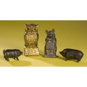 Four Cast Iron Pig & Owl Banks,