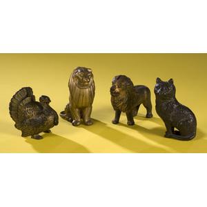 Cast Iron Still Banks, Cat, Lions & Turkey,