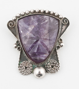 Mexican Silver and Amethyst Brooches