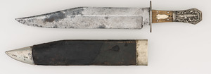 Coffin Handled Bowie Knife w/ Full Alligator