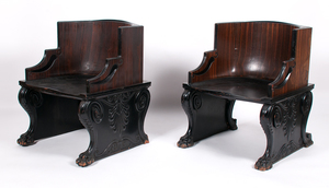 Cottier & Co. Golden Ebony Throne Chairs, Lot of Three